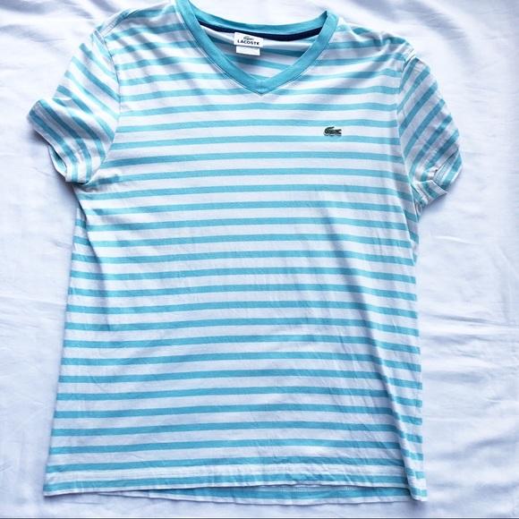 0f35c38d Lacoste Shirts | Mens Short Sleeve Striped Basic Tee | Poshmark